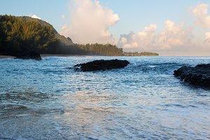 Lumahai beach at sunrise in Kauai