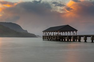Hanalei Pier at sunrise Kauai Hawaii