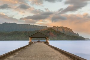 Hanalei Pier Kauai Hawaii at sunrise