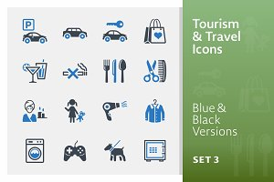 Tourism & Travel Icons Set 3 | Blue