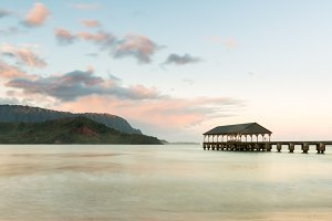 Hanalei pier at sunrise on Kauai