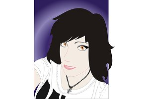 Portrait of black haired girl vector