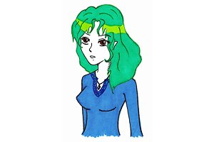 Green hair cartoon girl vector