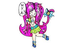 Anime kawaii cartoon cat girl vector