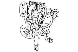 Monochrome anime cat girl vector