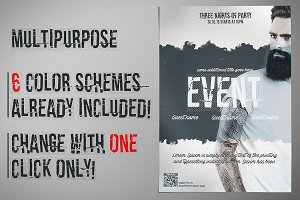 Flyer Template 6 Color Schemes