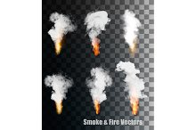 Flames With Smoke Vector Icons