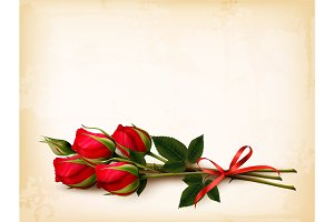 Holiday Background With Red Roses