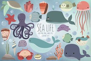 Cute Sea Life Design Elements