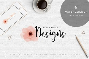 6 Watercolour Logos