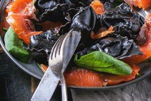 Black ravioli with salted salmon