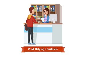 Clerk working with customer