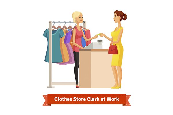 Clothes store clerk at work
