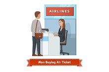 Man buying air ticket