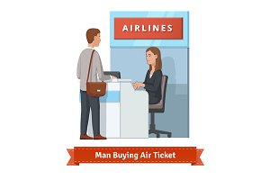Man buying air ticket