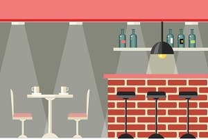 Cafe or Bar Interior Design Flat
