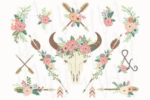 Floral Tribal Bull Skull Collection