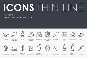 Fast food thinline icons
