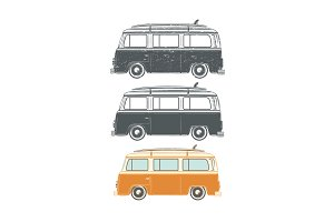 Set of retro travel camper vans.