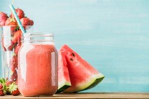 Freshly blended red fruit smoothie
