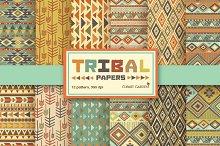 12 Tribal aztec Digital Papers Pack.