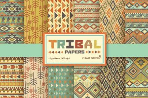 12 Tribal aztec Digital Papers Pack.