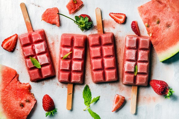 Strawberry watermelon ice cream