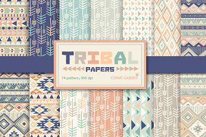 14 Tribal aztec Digital Papers Pack.