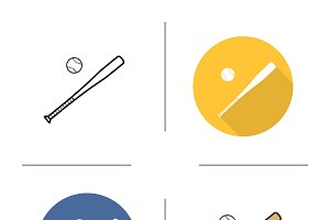 Baseball bat and ball icons. Vector