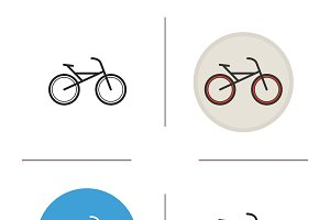 Bicycle icons. Vector