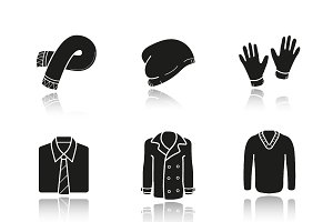 Men's clothes icons. Vector