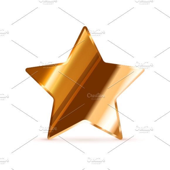 Glossy bronze rating star on white