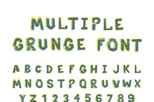 Multiple bright colors grunge font