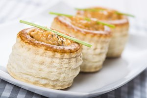 vol au vent stuffed with seafood cream