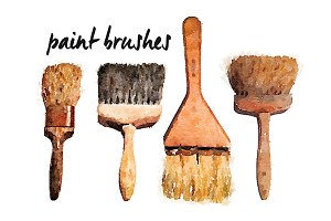 Vintage Paint Brushes Water Color