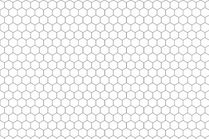 Gray hexagon grid on white