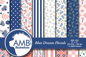 Floral Digital Papers in Blues, 1288