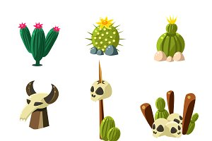 Blossom Cactus and Skull Vector