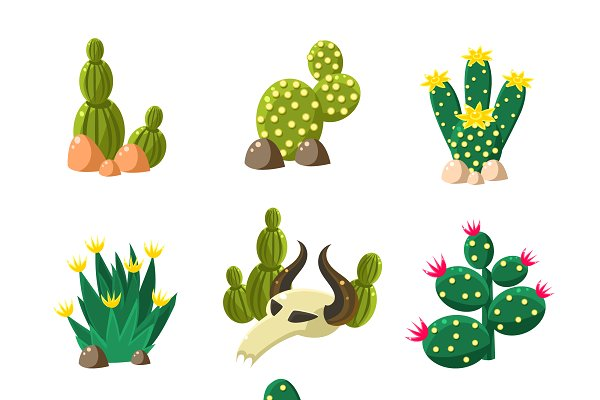 Cactus and Skull Icons, Vector