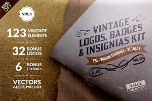 Vintage Logos, Badges Kit-Value Pack