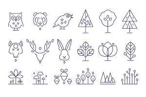 Animal Heads and Plants Icons Set