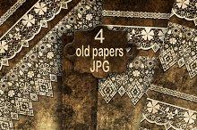 Set of 4 old paper. Scrapbooking.