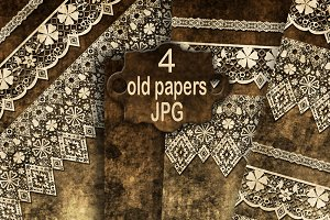 Set of 4 old paper. Scrapbooking.