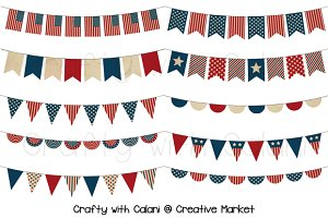 Vintage Patriotic Digital Bunting