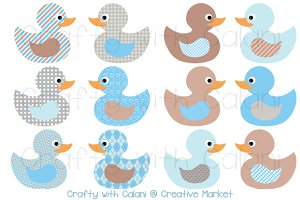 Baby Blue & Brown Rubber Duck