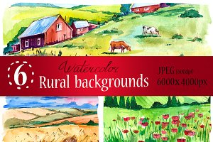Watercolor rural backgrounds