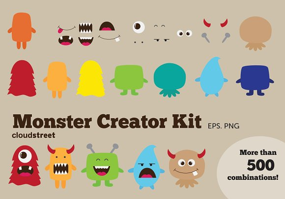 Clip Art Clip Art Creator monster creator kit clipart illustrations on creative market illustrations