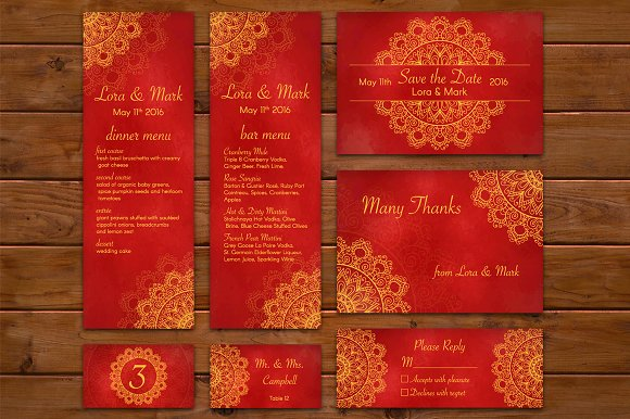 Red-gold ethnic wedding set in Invitation Templates