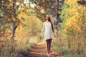 blonde in the autumn park
