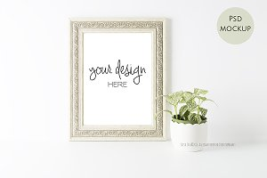 Photo Stock white frame mock up PSD